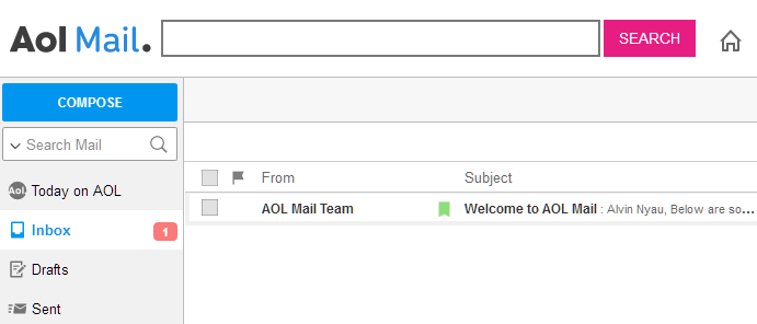 AOL Mail Email Inbox screen
