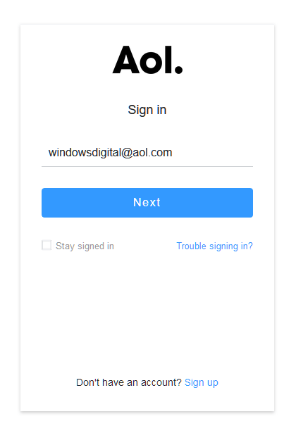 AOL Mail Login email address username