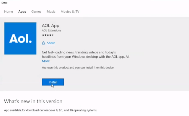 AOL download for Windows 10