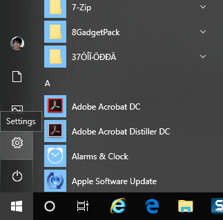 Access to Windows 10 settings