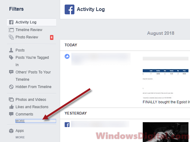 Activity Log recently viewed videos Facebook