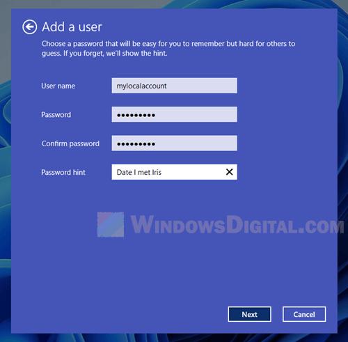 Add a user Windows 11