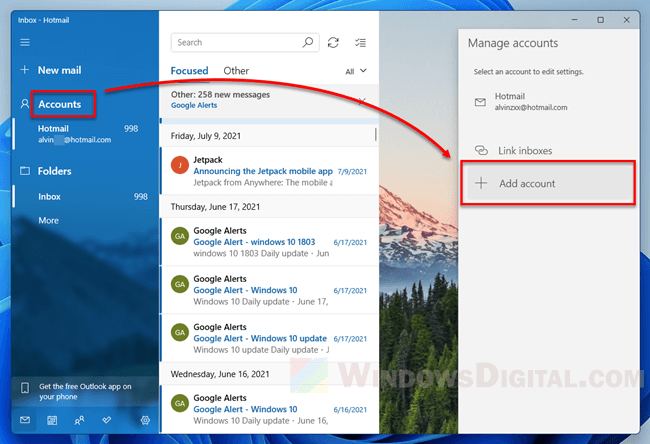 Add email account to Mail app Windows 11