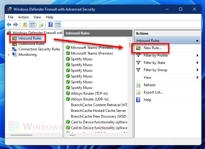 Add new inbound rules to block program from internet Windows 11