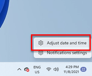 Adjust date and time Windows 11