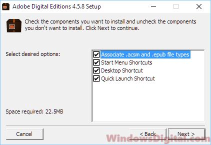 Adobe Digital Editions for Windows 10 ACSM PDF EPUB File Types