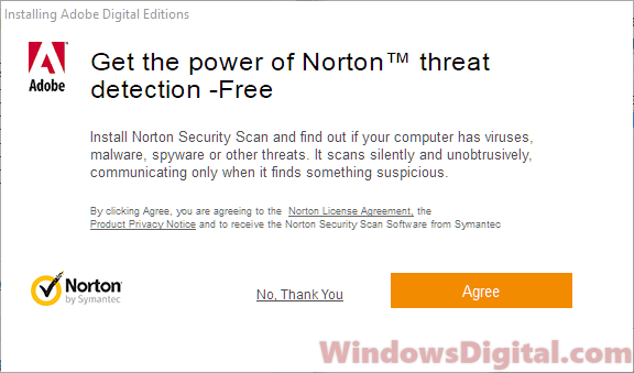 Adobe Digital Editions for Windows 10 Norton Security Scan