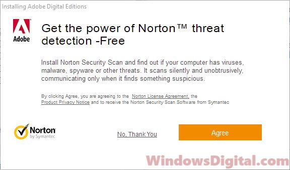 Adobe Digital Editions for Windows 10 Norton Security Scan