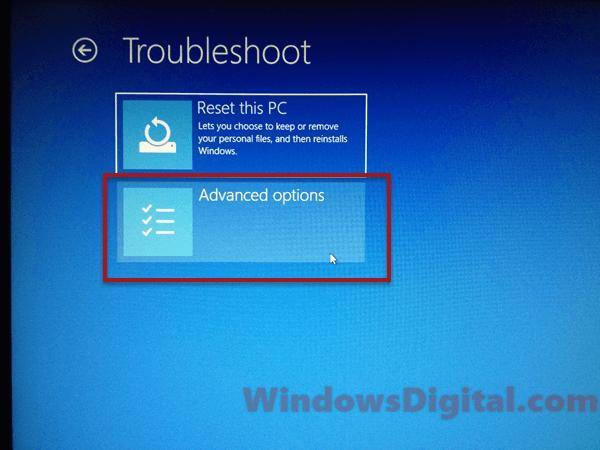 Advanced system restore windows 10 option