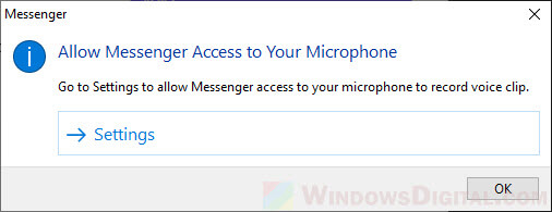 Allow Messenger Access to Your Microphone