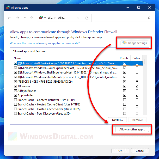 Allow another app greyed out Firewall Windows 11
