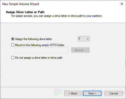 Assign drive letter for SSD partition