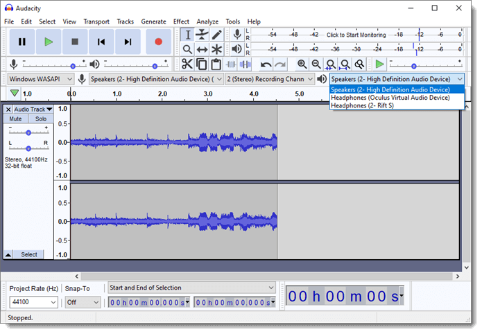 Audacity selecting speaker record audio sound