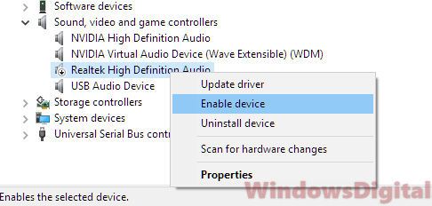 Audio Sound not working on Windows 10 laptop computer