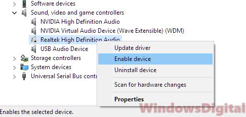 Audio Sound not working on Windows 10 laptop computer