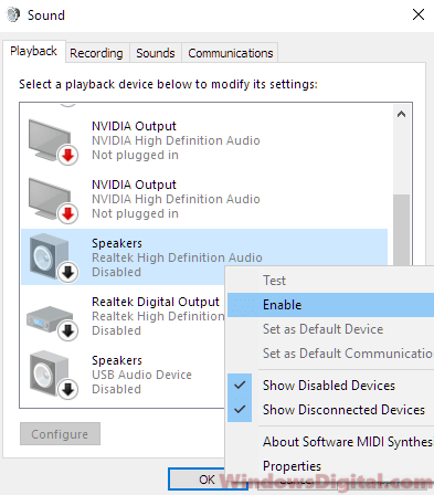 Audio not working on Windows 10