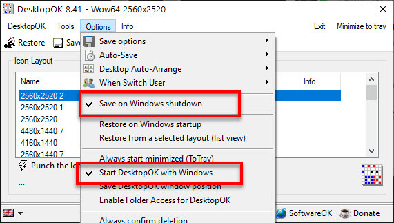 Auto Save and Restore Positions of Desktop Icons startup or shutdown
