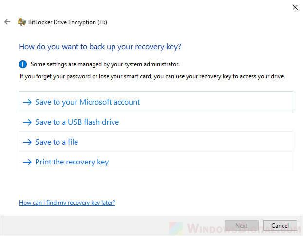 Back up recovery key Microsoft account or USD flash drive BitLocker