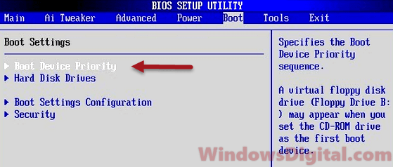 Bios boot sequence priority Windows 10