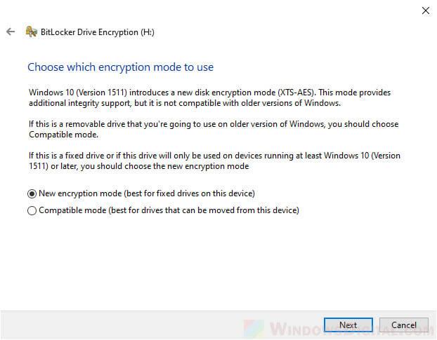 BitLocker new encryption mode or compatible mode