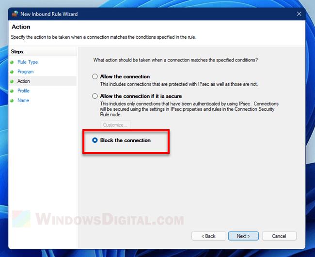 Block an app from using the internet Windows 11