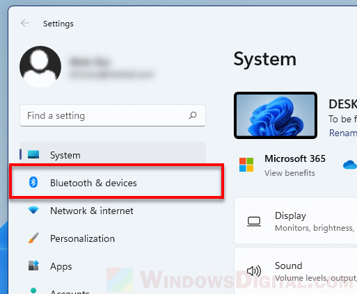 Bluetooth devices settings Windows 11