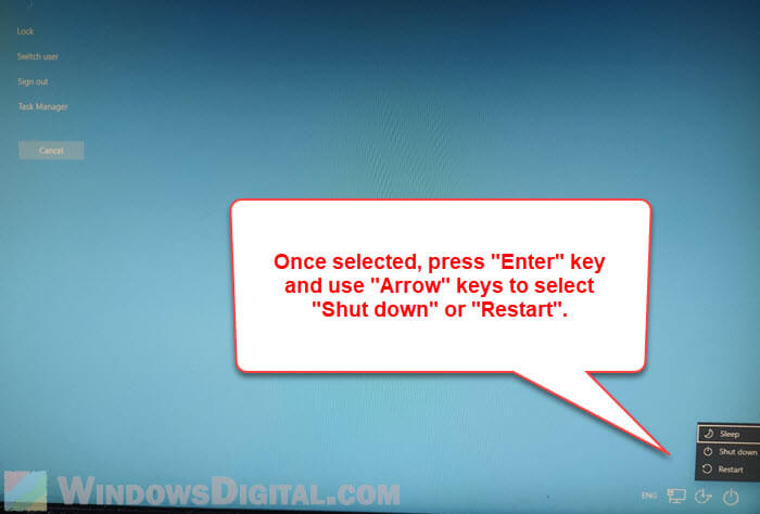 CTRL ALT DEL to restart or shutdown Windows 10 with keyboard