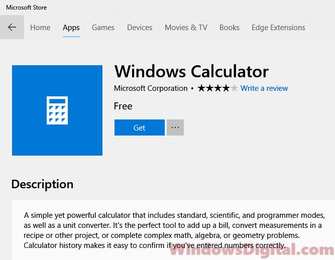 Calculator app not working Windows 10