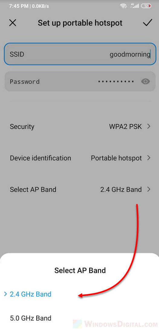 Can't connect to this network Hotspot