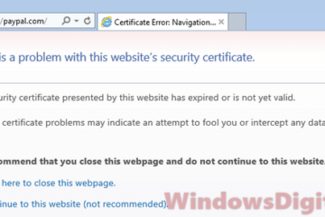 Certificate Error navigation blocked Windows 10 Edge Internet Explorer