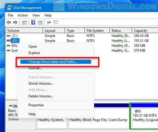 Change Drive Letter and Paths Windows 11