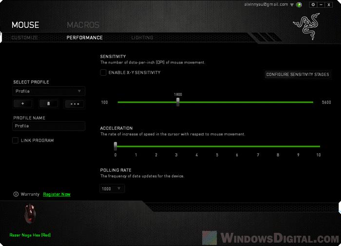 Change Mouse DPI settings in Razer Synapse