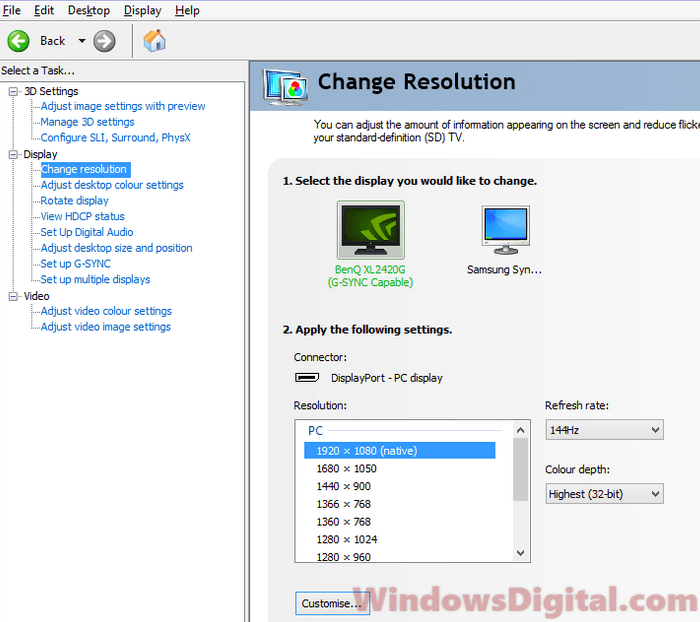 Change Screen Refresh Rate Windows 10 Nvidia