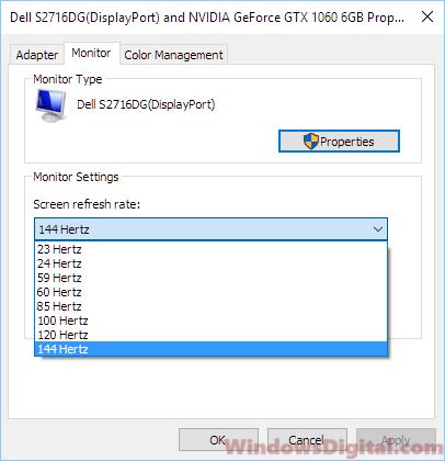Change Screen Refresh Rate Windows 10 laptop