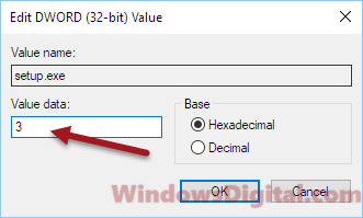 Change Windows 10 installation setup value to 3