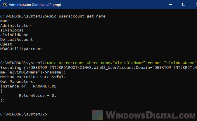 Change Windows 11 user account name Command Prompt