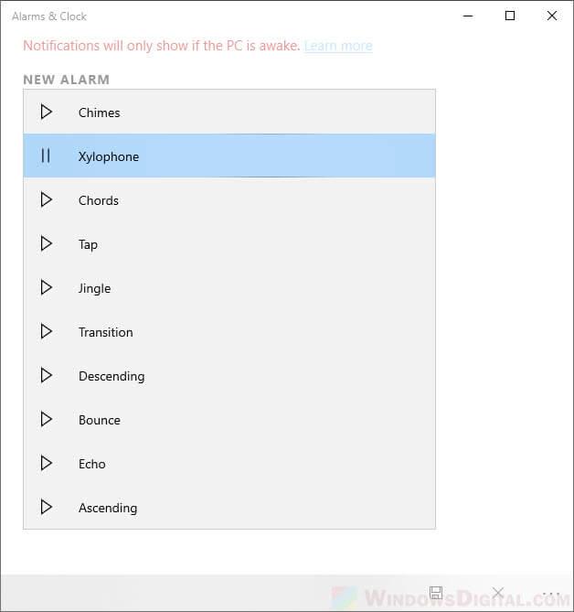 Change alarm sound in Windows 10