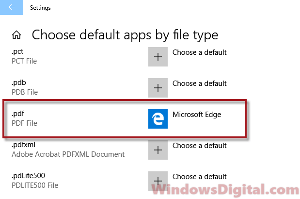 Change default PDF viewer Windows 10