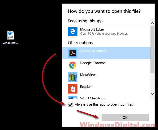 Change default PDF viewer in Microsoft Edge