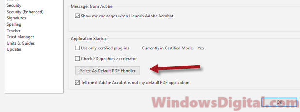Change default PDF viewer to Adobe Acrobat Reader DC Pro