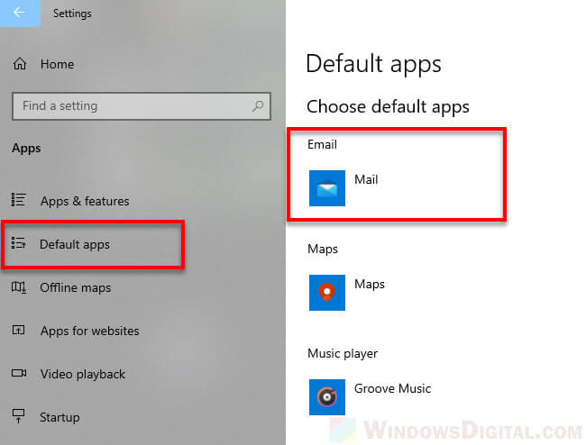 Change default email app to AOL Mail Windows 10
