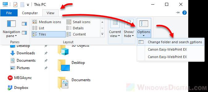 Change desktop icons folder options