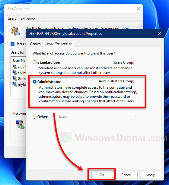 Change local account to Administrator group Windows 11