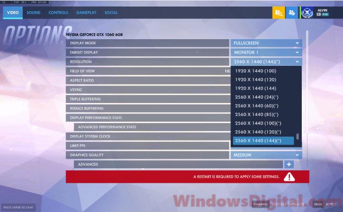 Change screen refresh rate monitor Windows 10 Overwatch CSGO