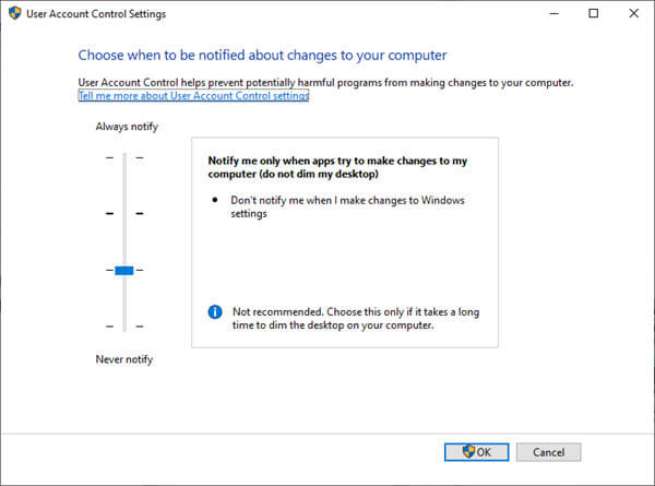 Changing User Account Control Settings in Windows 10