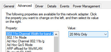 Channel width 20mhz Windows 10 can't connect to this network