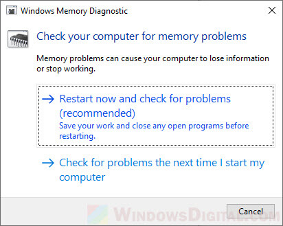 Check Memory to fix Kernel data inpage error blue screen Windows 10