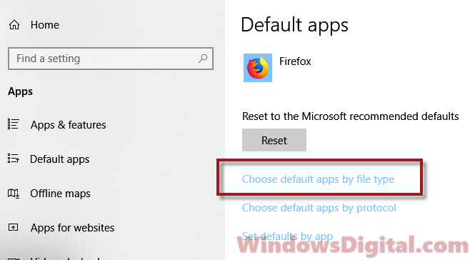 Choose default apps PDF file type Windows 10