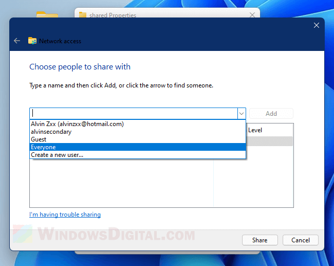 Choose people to share with Everyone Windows 11