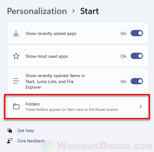 Choose which folders appear on Start next to Power button Windows 11